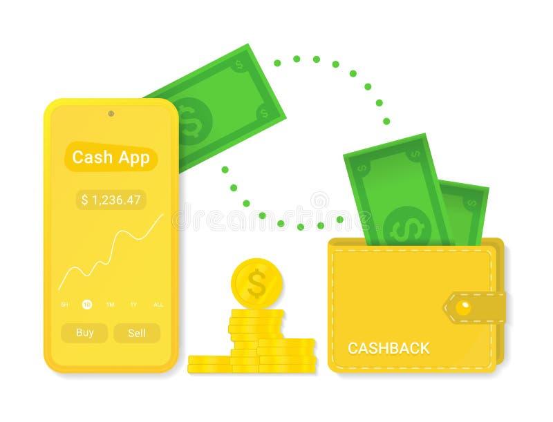 Μετρητά app με απομονωμένο το cashback διανυσματικό σύμβολο σημαδιών απεικόνιση αποθεμάτων
