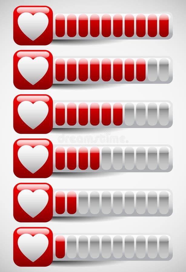 Μετρητές με τις μορφές καρδιών Μετρητής αγάπης, σημεία υγείας στον υπολογιστή διανυσματική απεικόνιση