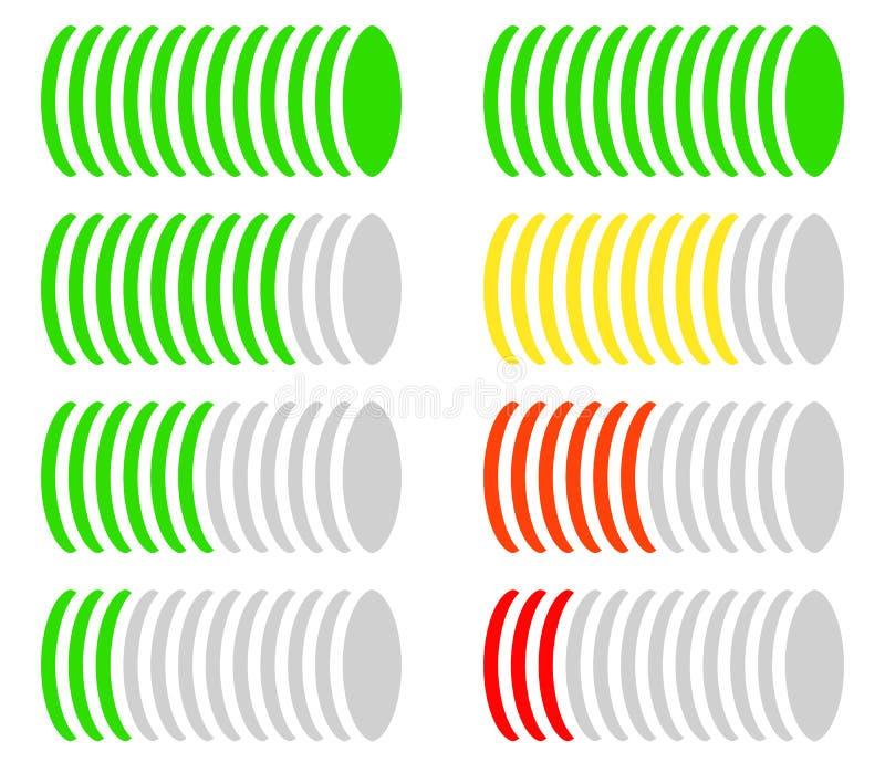 Μετρητής επιπέδων κύκλων, μετρητής, διάγραμμα σύγκρισης Κωδικοποιημένη χρώμα έκδοση ελεύθερη απεικόνιση δικαιώματος