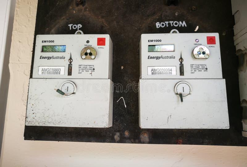 ` Μετρητής ηλεκτρικής ενέργειας της ενεργειακής Αυστραλίας ` σε ένα διαμέρισμα στοκ φωτογραφία