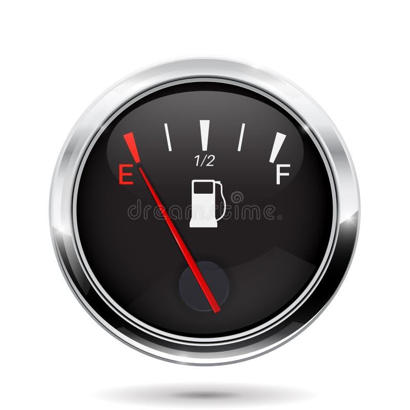 Μετρητής καυσίμων που παρουσιάζει πλήρη δεξαμενή Σημάδι ταμπλό αυτοκινήτων με την κενή ένδειξη δεξαμενών απεικόνιση αποθεμάτων