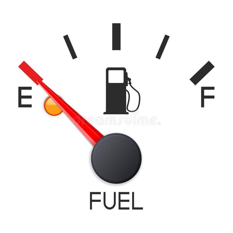 Μετρητής καυσίμων που παρουσιάζει πλήρη δεξαμενή empty tank Κλίμακα ταμπλό αυτοκινήτων διανυσματική απεικόνιση