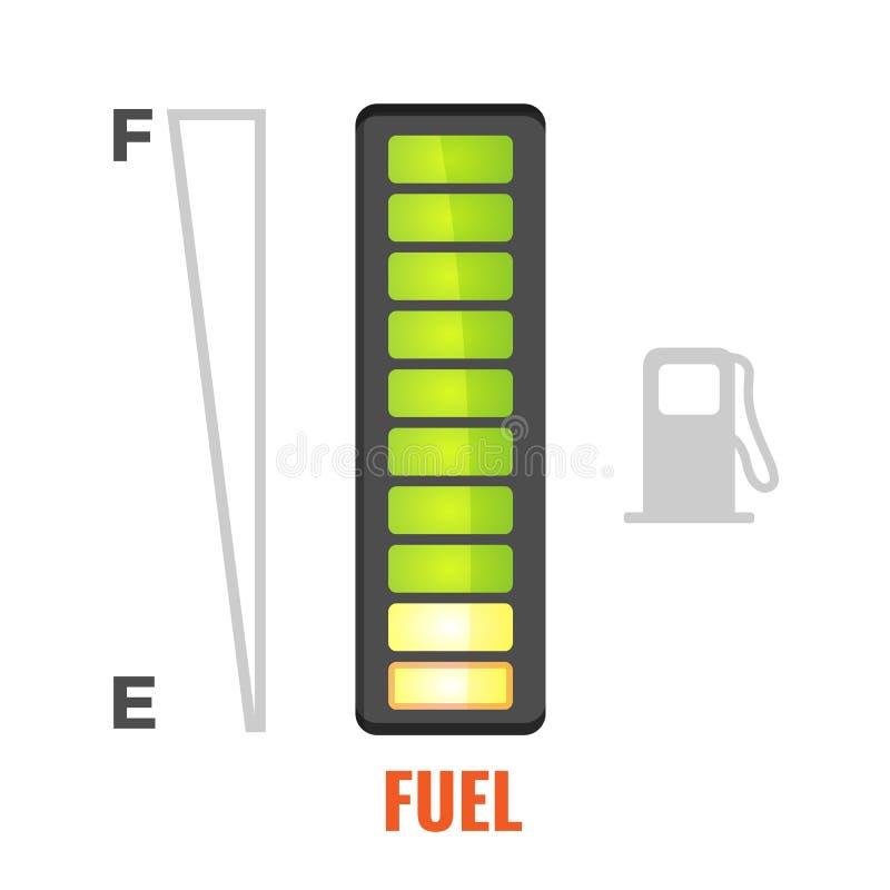 Μετρητής καυσίμων στη δεξαμενή του εικονιδίου αυτοκινήτων Από πλήρη σε κενό απεικόνιση αποθεμάτων
