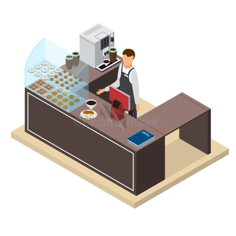 Μετρητής καφετεριών ή φραγμών και Isometric άποψη Barista διάνυσμα ελεύθερη απεικόνιση δικαιώματος