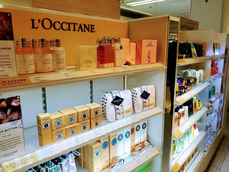 """Μετρητής Λ """"OCCITANE σε ένα κατάστημα τμημάτων στοκ φωτογραφία"""