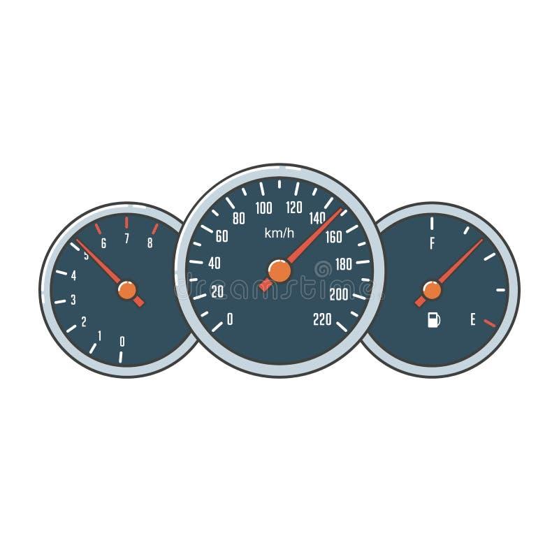 Μετρητής ταχυμέτρων, ταχυμέτρων και καυσίμων διανυσματική απεικόνιση