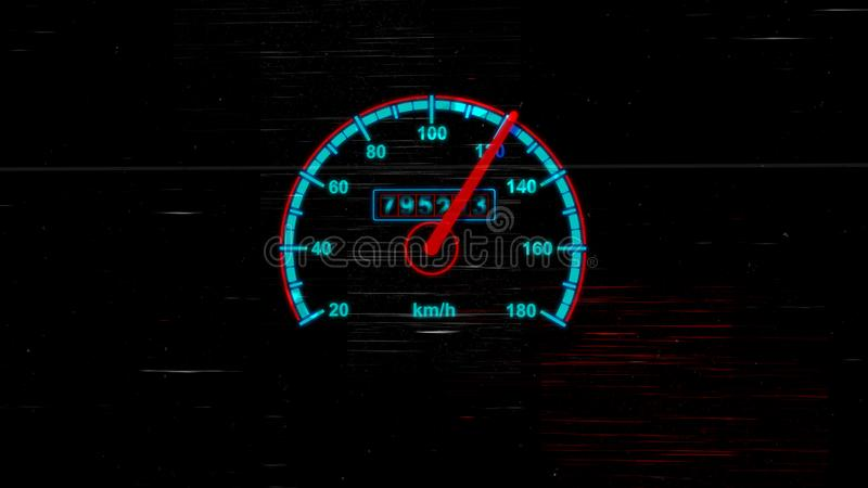 Μετρητής ταχυμέτρων με τα χιλιόμετρα ανά ώρα διανυσματική απεικόνιση