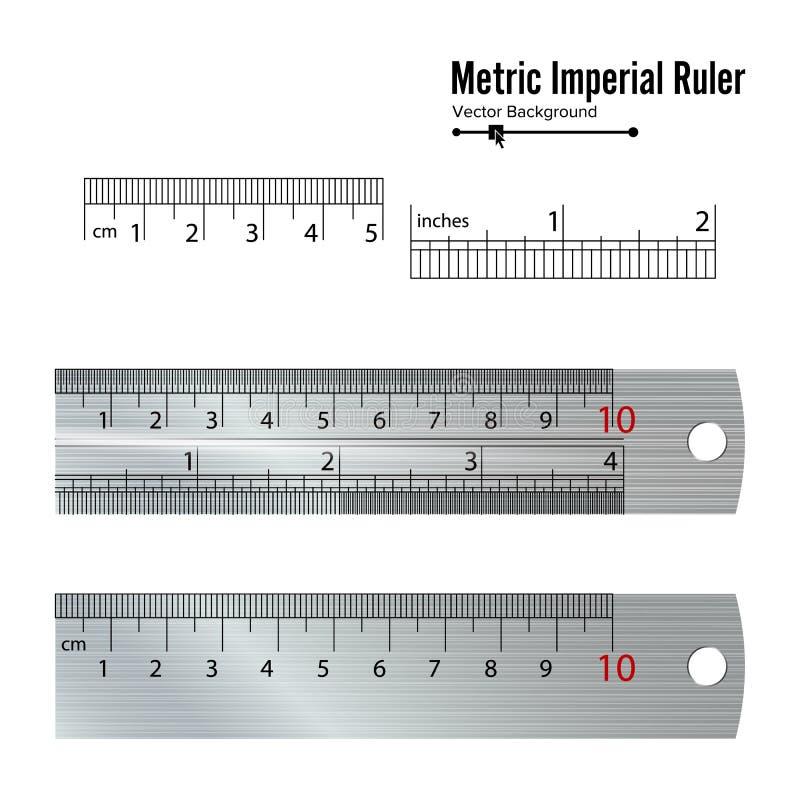 Μετρικό αυτοκρατορικό διάνυσμα κυβερνητών Εκατοστόμετρο και ίντσα Απεικόνιση εξοπλισμού εργαλείων μέτρου που απομονώνεται στο άσπ διανυσματική απεικόνιση