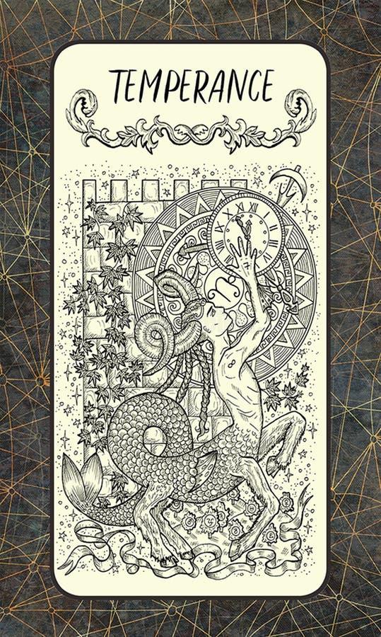 μετριοπάθεια Σημαντική κάρτα Arcana Tarot απεικόνιση αποθεμάτων