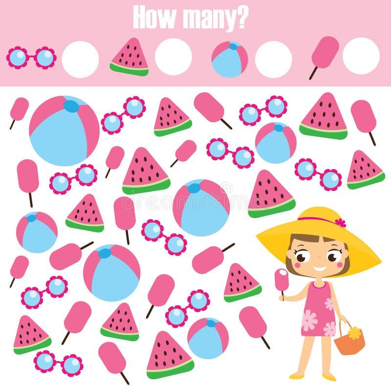 Μετρώντας εκπαιδευτικό παιχνίδι παιδιών Μελέτη math, αριθμοί, προσθήκη Δραστηριότητα μαθηματικών παιδιών θέματος καλοκαιρινών δια ελεύθερη απεικόνιση δικαιώματος