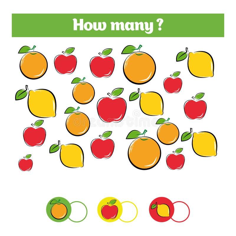 Μετρώντας εκπαιδευτικό παιχνίδι παιδιών, φύλλο δραστηριότητας παιδιών Στόχος πόσων αντικειμένων Μαθηματικά εκμάθησης, αριθμοί, θέ διανυσματική απεικόνιση