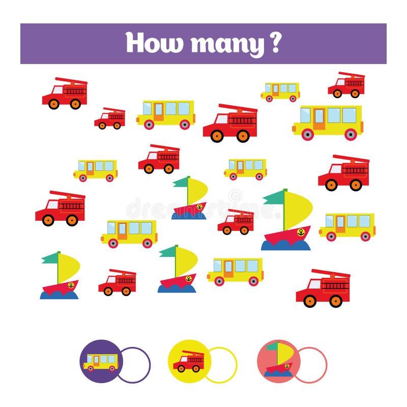Μετρώντας εκπαιδευτικό παιχνίδι παιδιών, φύλλο δραστηριότητας παιδιών Στόχος πόσων αντικειμένων Μαθηματικά εκμάθησης, αριθμοί, θέ ελεύθερη απεικόνιση δικαιώματος