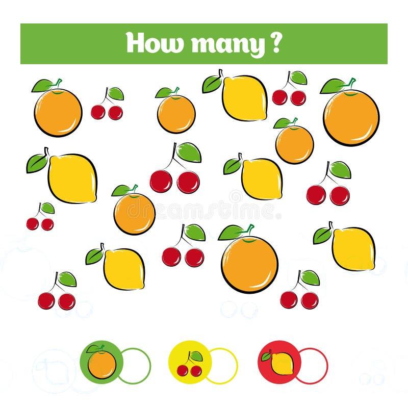 Μετρώντας εκπαιδευτικό παιχνίδι παιδιών, φύλλο δραστηριότητας παιδιών Στόχος πόσων αντικειμένων Μαθηματικά εκμάθησης, αριθμοί, θέ απεικόνιση αποθεμάτων