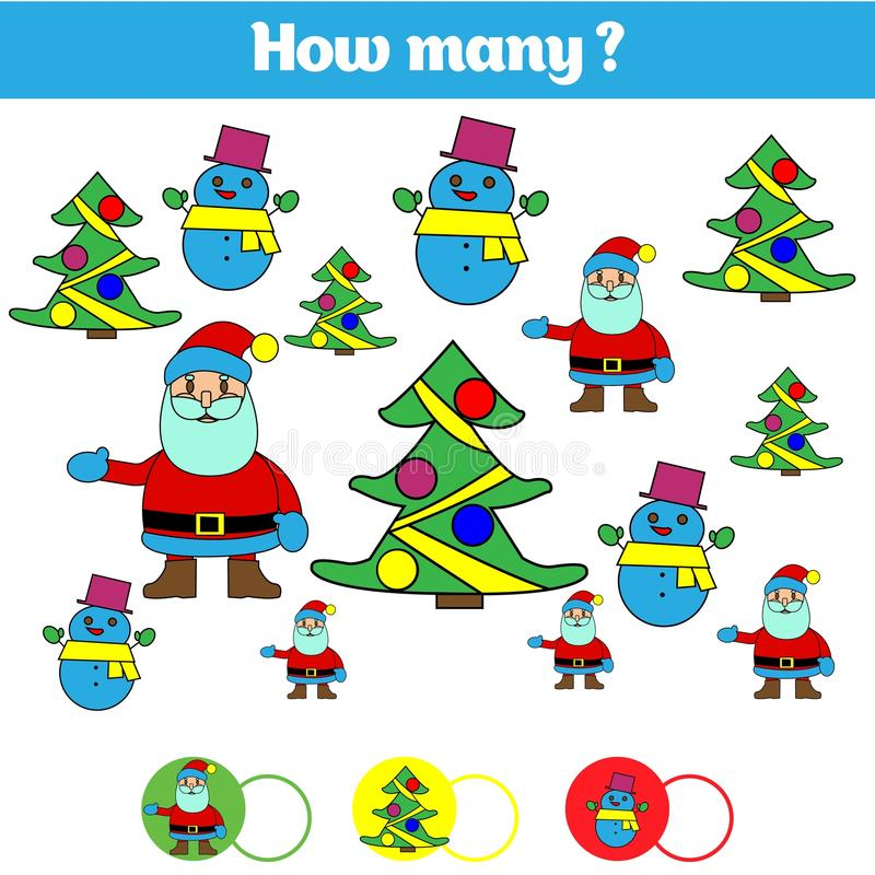 Μετρώντας εκπαιδευτικό παιχνίδι παιδιών, φύλλο δραστηριότητας παιδιών Στόχος πόσων αντικειμένων Μαθηματικά εκμάθησης, αριθμοί διανυσματική απεικόνιση