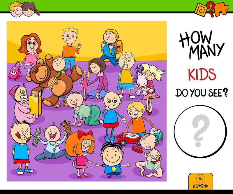Μετρώντας εκπαιδευτικό παιχνίδι χαρακτήρων παιδιών απεικόνιση αποθεμάτων