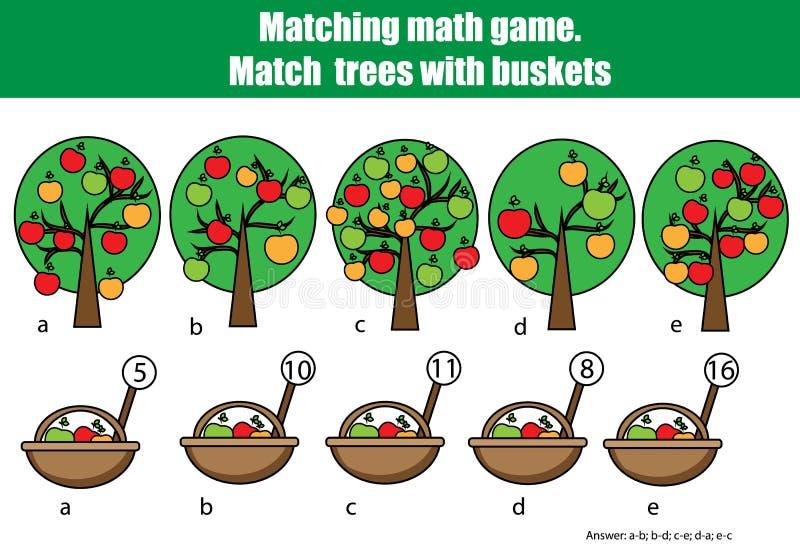 Μετρώντας εκπαιδευτικό παιχνίδι παιδιών, δραστηριότητα παιδιών Μετρώντας ταιριάζοντας με παιχνίδι μαθηματικών ελεύθερη απεικόνιση δικαιώματος