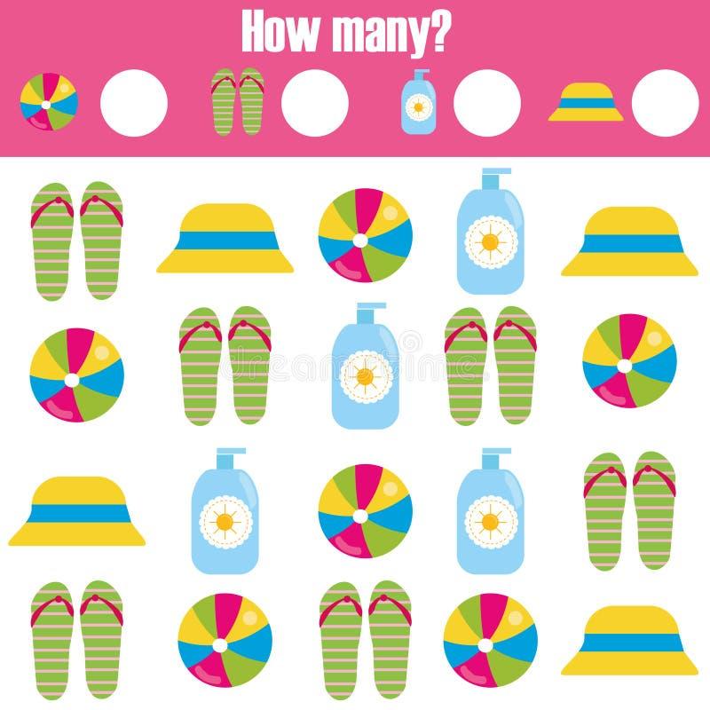 Μετρώντας εκπαιδευτικό παιχνίδι παιδιών, φύλλο εργασίας δραστηριότητας παιδιών Πόσα αντικείμενα μαθηματικά εκμάθησης απεικόνιση αποθεμάτων