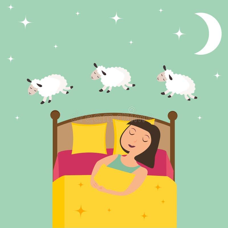 Μετρώντας κορίτσι για να πέσει κοιμισμένη διανυσματική απεικόνιση ελεύθερη απεικόνιση δικαιώματος