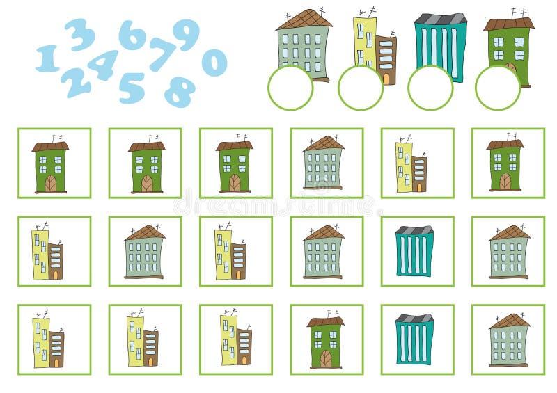 Μετρώντας παιχνίδι για τα προσχολικά παιδιά Εκπαιδευτικός ένα μαθηματικό παιχνίδι ελεύθερη απεικόνιση δικαιώματος