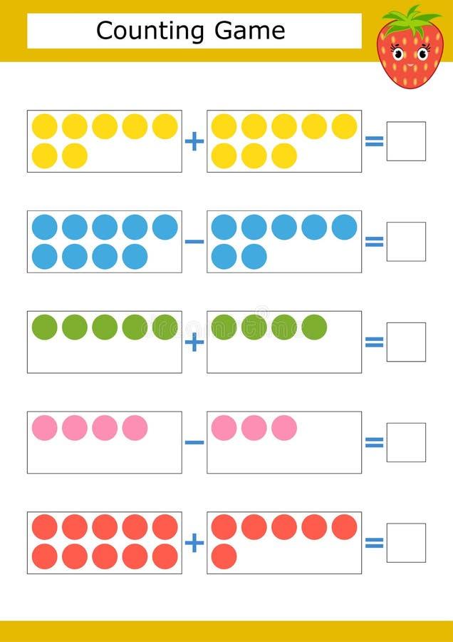 Μετρώντας παιχνίδι για τα προσχολικά παιδιά Η μελέτη των μαθηματικών Προσθήκη και αφαίρεση κύκλοι που χρωματίζοντα&io Με μια θέση ελεύθερη απεικόνιση δικαιώματος