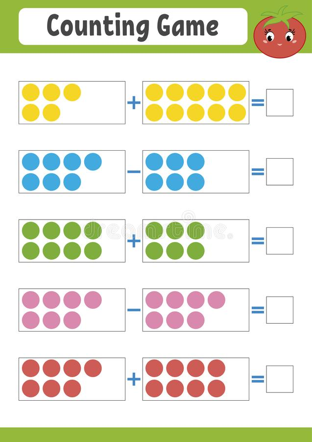 Μετρώντας παιχνίδι για τα preschoolers Εκπαιδευτικό μαθηματικό παιχνίδι στην προσθήκη και την αφαίρεση Ενεργό φύλλο εργασίας για  διανυσματική απεικόνιση