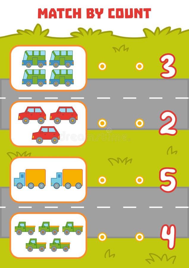 Μετρώντας παιχνίδι για τα προσχολικά παιδιά Αυτοκίνητα αρίθμησης στην εικόνα διανυσματική απεικόνιση