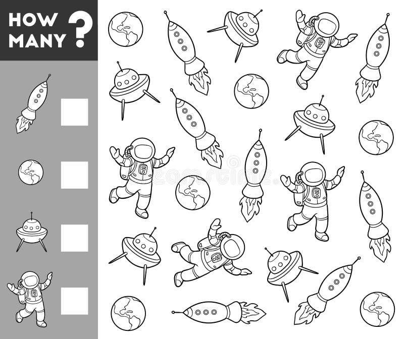Μετρώντας παιχνίδι για τα προσχολικά παιδιά Διαστημικά αντικείμενα ελεύθερη απεικόνιση δικαιώματος