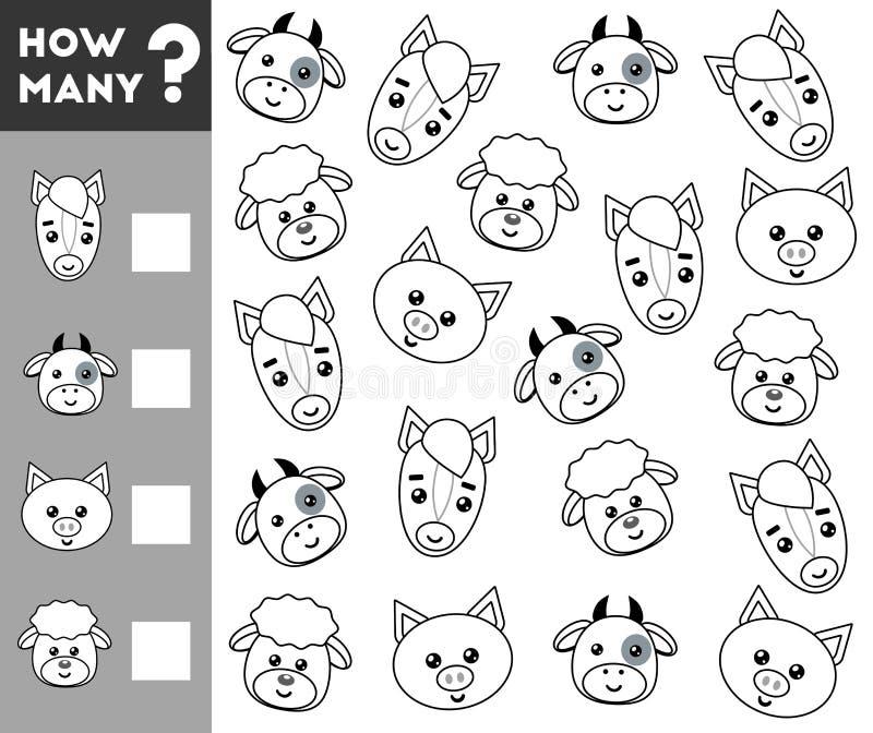 Μετρώντας παιχνίδι για τα προσχολικά παιδιά Μετρήστε πόσο ζώο αγροκτημάτων απεικόνιση αποθεμάτων