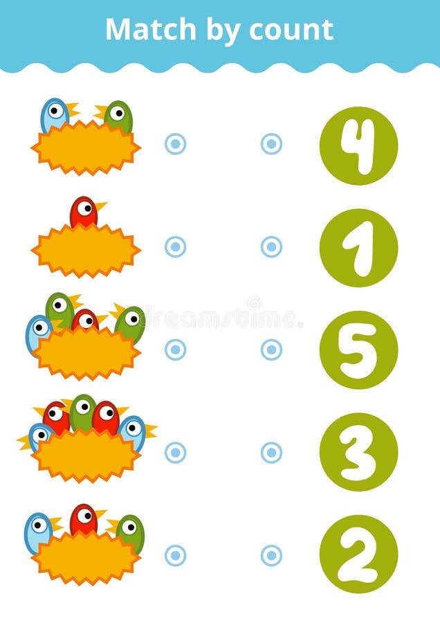 Μετρώντας παιχνίδι για τα προσχολικά παιδιά Μετρήστε τα πουλιά απεικόνιση αποθεμάτων