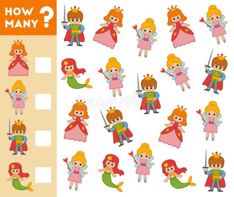 Μετρώντας παιχνίδι για τα προσχολικά παιδιά χαρακτήρες παραμυθιού ελεύθερη απεικόνιση δικαιώματος