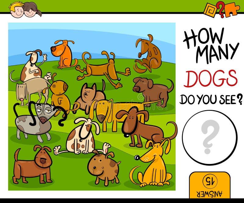 Μετρώντας παιχνίδι με τα χαριτωμένα σκυλιά απεικόνιση αποθεμάτων