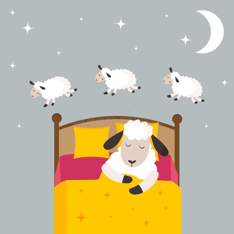 Μετρώντας πρόβατα για να πέσει κοιμισμένη διανυσματική απεικόνιση απεικόνιση αποθεμάτων