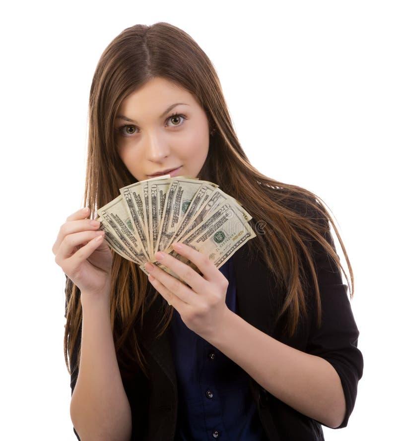 Μετρώντας χρήματα γυναικών στοκ φωτογραφία