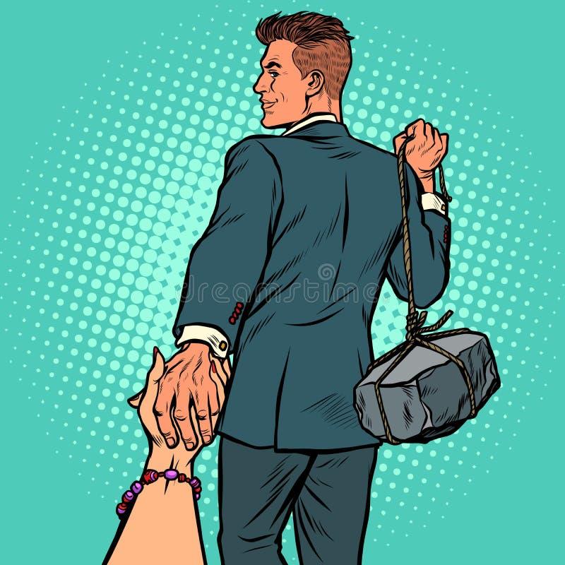 Με ακολουθήστε επιχειρηματίας με μια πέτρα διανυσματική απεικόνιση