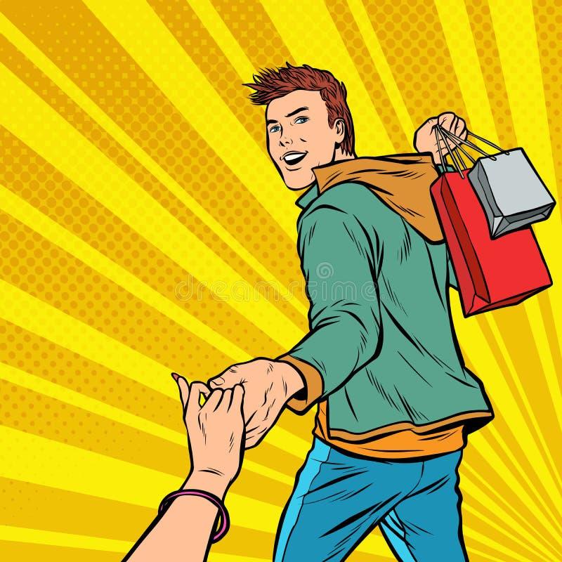 Με ακολουθήστε Μόλυβδοι νεαρών άνδρων στην πώληση Αγορές ανδρών και γυναικών ζεύγους απεικόνιση αποθεμάτων