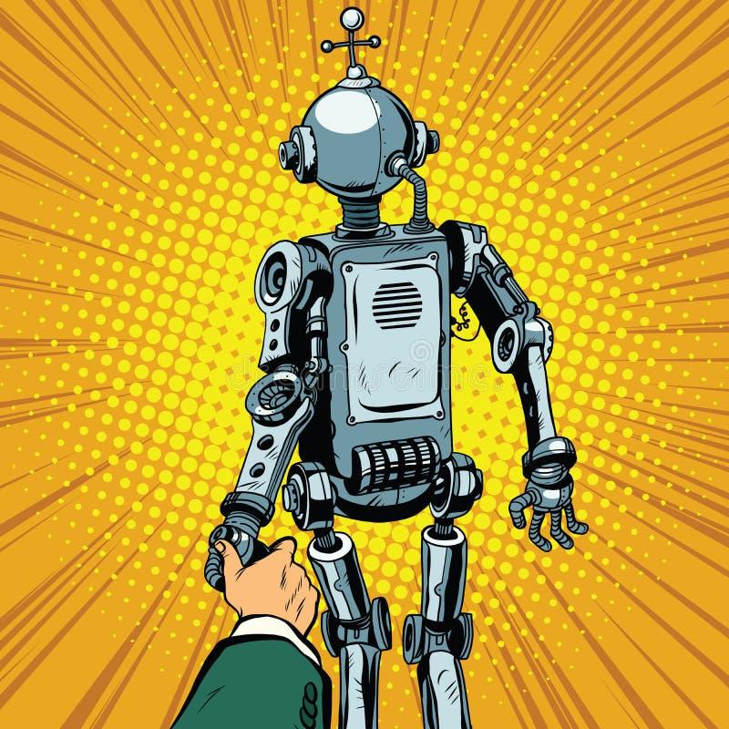 Με ακολουθήστε, το ρομπότ μας οδηγεί μπροστινούς ελεύθερη απεικόνιση δικαιώματος