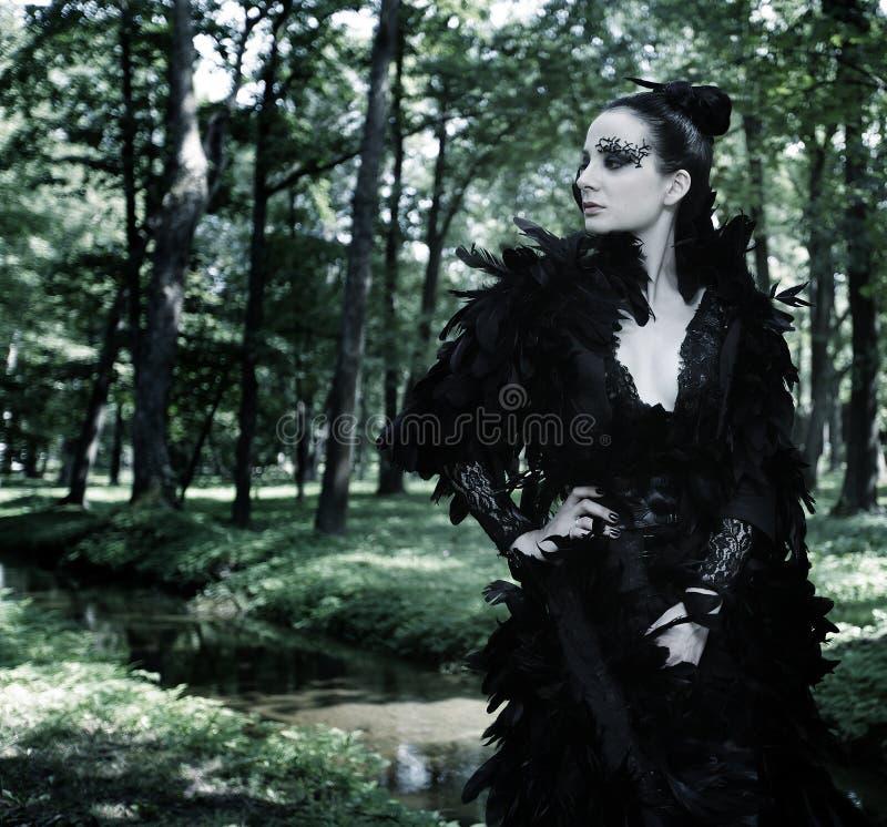 Μελαχροινή βασίλισσα στο πάρκο στοκ εικόνα