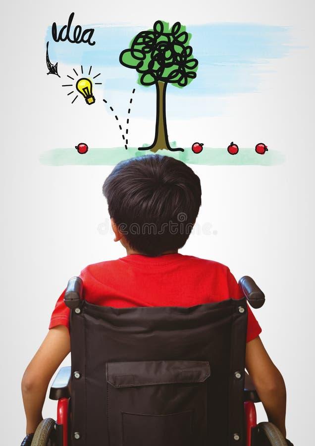 Με ειδικές ανάγκες αγόρι στην αναπηρική καρέκλα με τη ζωηρόχρωμη γραφική παράσταση ιδέας στοκ εικόνες
