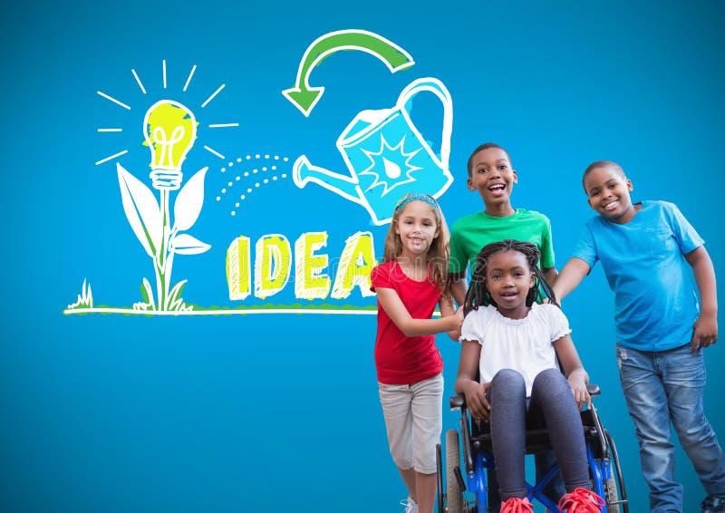 Με ειδικές ανάγκες κορίτσι στην αναπηρική καρέκλα με τους φίλους με τα ζωηρόχρωμα γραφικά σχέδια ιδέας στοκ φωτογραφία