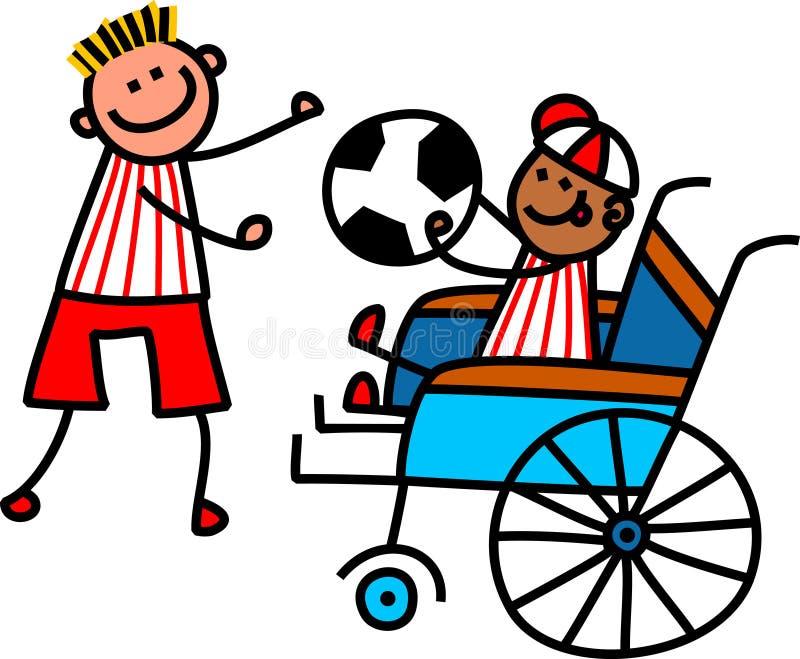 Με ειδικές ανάγκες αγόρι ποδοσφαίρου απεικόνιση αποθεμάτων