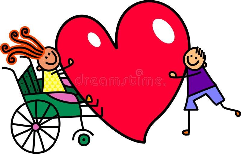 Με ειδικές ανάγκες κορίτσι με τη μεγάλη αγάπη καρδιών διανυσματική απεικόνιση