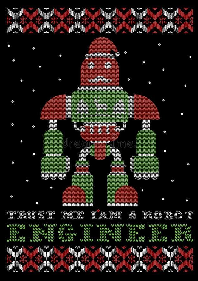 Με εμπιστευθείτε, είμαι ένα σχέδιο μπλουζών Χριστουγέννων ύφους μηχανικών ρομπότ ελεύθερη απεικόνιση δικαιώματος