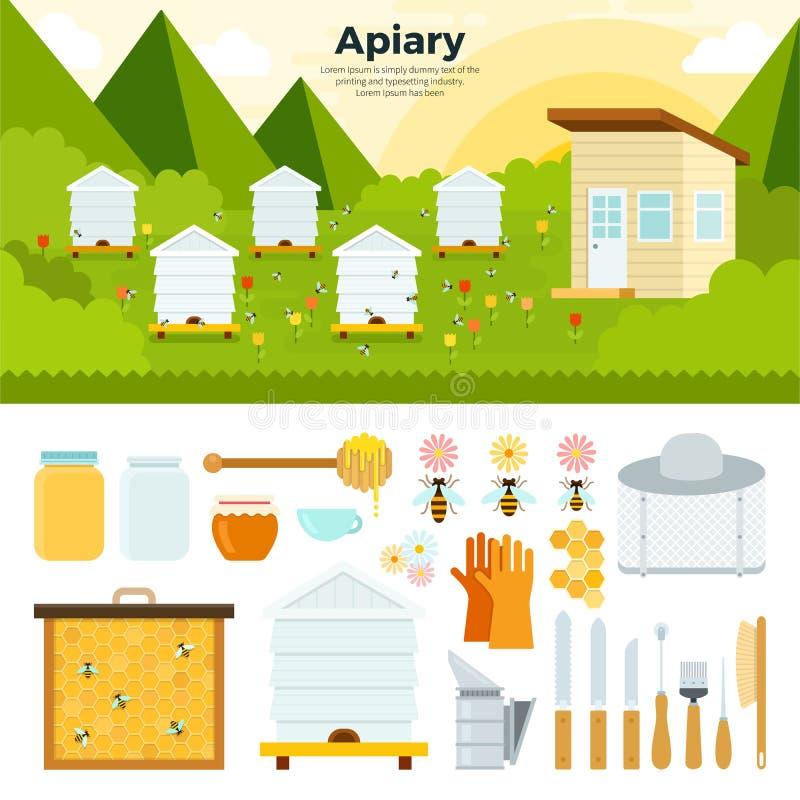 Μελισσουργείο στον κήπο διανυσματική απεικόνιση