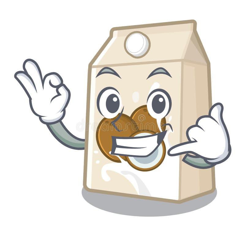 Με καλέστε γάλα καρύδων που χύνεται στο γυαλί κινούμενων σχεδίων ελεύθερη απεικόνιση δικαιώματος