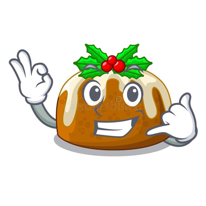 Με καλέστε πουτίγκα Χριστουγέννων που απομονώνεται στη μασκότ ελεύθερη απεικόνιση δικαιώματος