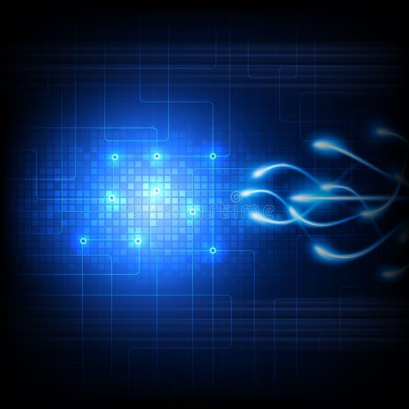 Μελλοντική απεικόνιση τεχνολογίας στο μπλε υπόβαθρο απεικόνιση αποθεμάτων