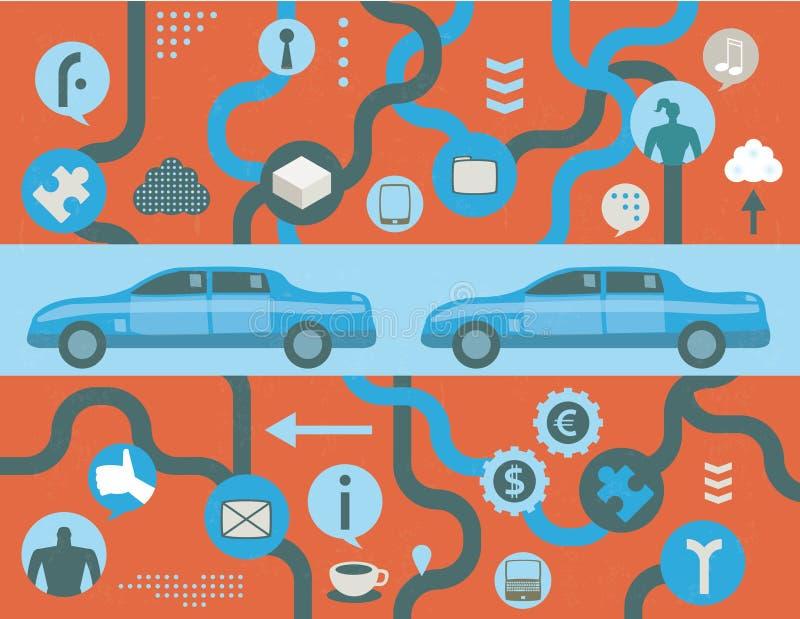 Μελλοντική ευφυής έννοια αυτοκινήτων διανυσματική απεικόνιση