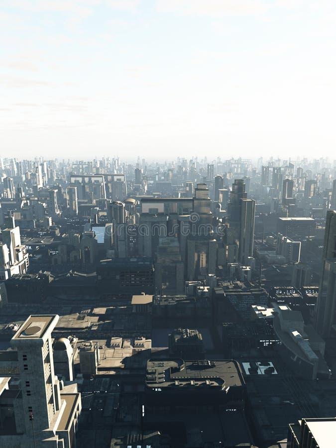 Μελλοντική πόλη στην υδρονέφωση ξημερωμάτων διανυσματική απεικόνιση