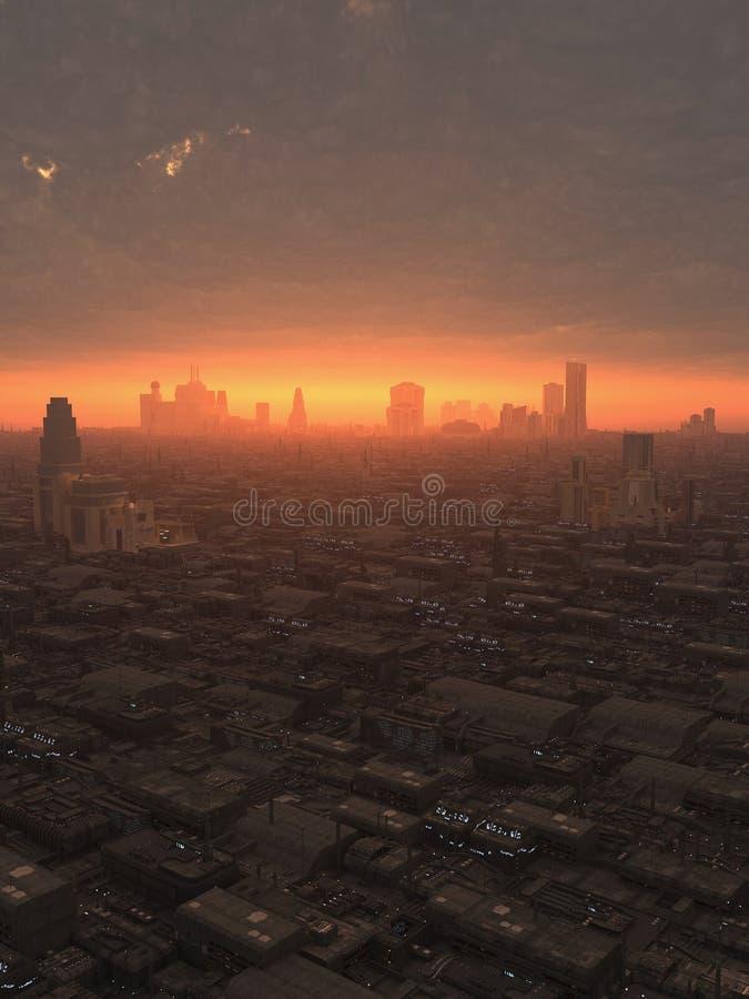 Μελλοντική πόλη στο ηλιοβασίλεμα απεικόνιση αποθεμάτων