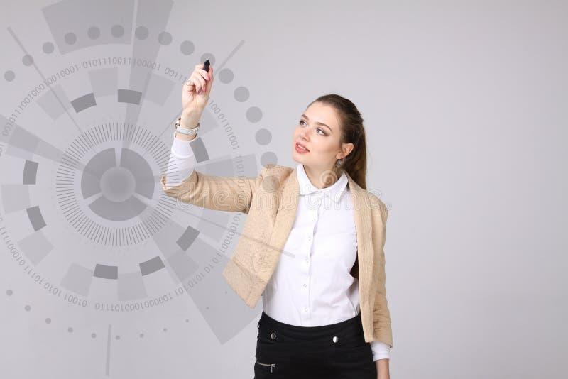 μελλοντική τεχνολογία Γυναίκα που εργάζεται με τη φουτουριστική διεπαφή στοκ φωτογραφίες